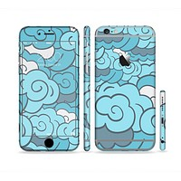 The Abstract Blue Vector Seamless Cloud Pattern Sectioned Skin Series for the Apple iPhone6s Plus