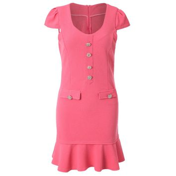 Stylish Sweetheart Neck Short Sleeves Single Breasted Flounce Dress For Women