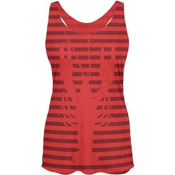 CREYCY8 Lobster Navy Nautical Stripes Womens Soft Racerback Tank Top