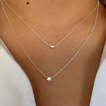 I give You the Moon and the Stars ... Dainty Layering Necklaces - Sterling Silver - Choker necklace - layering necklace - valentine's day