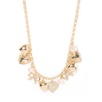 Gold and Crystal Heart Charms Necklace