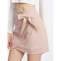 Knot Side Overlap Skirt Pink