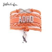Infinity Love ADHD Awareness Ribbon Orange Charm Leather Wrap Jewelry