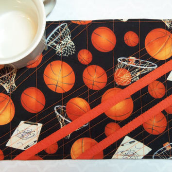 Mug Rug , Snack Mat , HOOPS TIME Quilted Place Mat , Coaster , Table Topper , Basket Ball , Candle Mat
