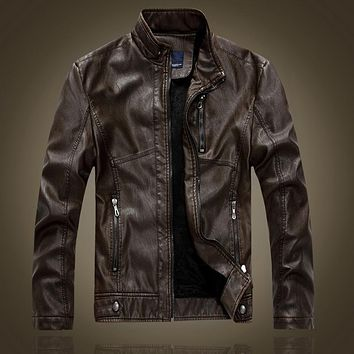 Stand Collar Leather Men Motorcycle Lining Slim Fit Men Winter Jackets And Coats