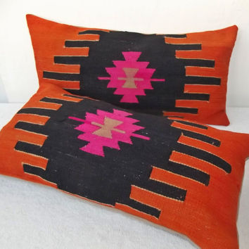 SET of 2 Lumbar  Turkish Kilim Pillow Cover, Black Orange Decorative Lumbar Pillow,  Anatolian  Lumbar Piillow 11  x 21.2 ' INCHES
