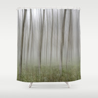 """Foggy Wood"" Shower Curtain by Guido Montañés"