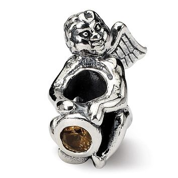 Sterling Silver November CZ Birthstone, Angel Bead Charm