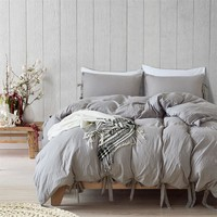 Modern Simple Style Gray Duvet Cover Cute Bowknot Bedding Set Silky Soft Breathable Bed Linen Twin Queen King