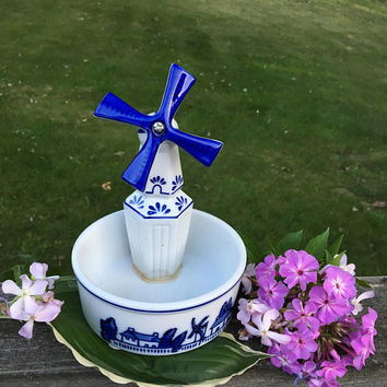 Windmill Planter Vintage Blue and White Delft Style Ceramic Plant Container Dutch Themed Home Decor Flower Potpourri Candle Ornament Holder