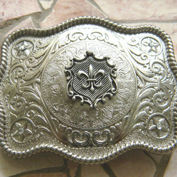 Fleur De Lis Belt Buckle, Silver Western Engraved Womens Mens Belt Buckle, Mardi Gras Silver Belt, New Orleans Saints Football, Shield Crest