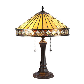 "Ingrid, Tiffany-Style 2 Light Mission Table Lamp 16"" Shade"