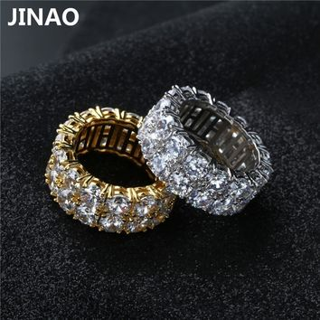 JINAO New Design Gold Silver Color Plated Ring Micro Paved 2 Row Chain Big  Zircon Shiny Hip Hop Finger Ring for Men Women
