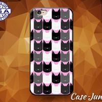 Cat Head Pattern Pop Art Pink Kitty Cute Tumblr Custom Case For iPhone 4 and 4s and iPhone 5 and 5s and 5c and iPhone 6 and 6 Plus +