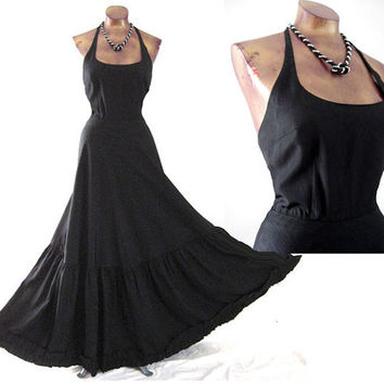 Vintage 70s as 30s Gatsby Formal Gown Halter Ruffle Hem CC Creations Paris S
