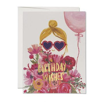 RED CAP CARDS HEART SHAPED GLASSES CARD