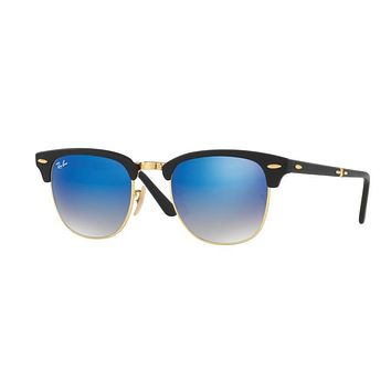 Ray Ban Clubmaster Folding Sunglass Matte Black with Blue Flash Mirror Gradient Lens R