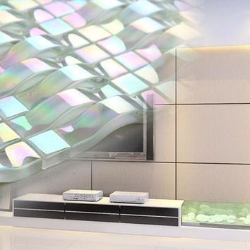 3D Pearl White  Iridescent Crystal Glass Mosaic Tile