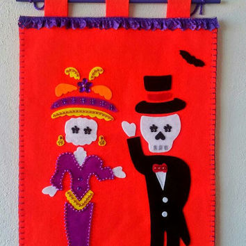 Day of the Dead Poster, Catrina Flag, Sugar Skull pennant, day of the dead wedding couple, Dia de muertos, Halloween door, Mexican skull