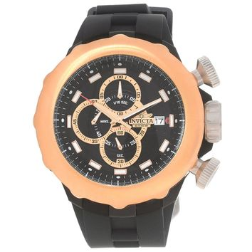 Invicta 16911 Men's I-Force Rose Gold Bezel Chronograph Black Dial Silicone Strap Watch