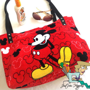 Mickey Mouse Beach Bag Tote Upcycled