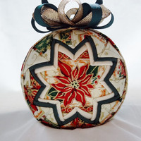 Poinsettia Quilted Folded Star Ornament (Q195)