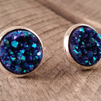 Druzy earrings-  Navy shimmer drusy silver tone stud druzy earrings