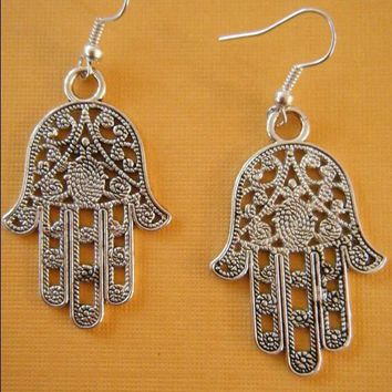 New Vintage Ancient Silver Large Hamsa Hands Charms Dangle Earrings For Women Gift Jewelry Making 50 pair