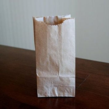 """Extra Small Brown Paper Bags 3 x 2 x 6"""" party favors, Paper Lunch Bags, Grocery Bag, wedding favor bags, kraft bags, paper bags 100 per pack"""