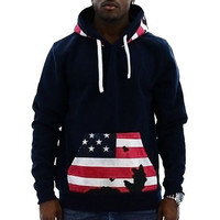 Drawstring Hooded American Flag Print Front Pocket Long Sleeves Men's Thicken Hoodie