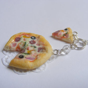 Unscented or Scented Pizza and Slice Miniature Food Necklace Pendant - Miniature Food Jewelry,Handmade Jewelry Necklace Pendant