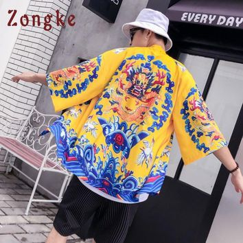 Trendy Zongke Dragon Kimono Cardigan Men Chinese Style Long Kimono Cardigan Men Loose Beach Kimono Male Casual Jacket Coat 2018 AT_94_13
