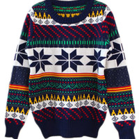 ROMWE | ROMWE Snows Print Colorful Stripe Jumper, The Latest Street Fashion