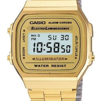 GOLD TONE CASIO MEN'S  STAINLESS STEEL DIGITAL WATCH