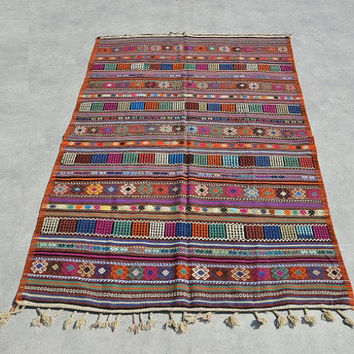 Turkish Kilim rug, area rug, vintage rug, bohemian rug, Turkish rug,colorful rug, Turkish carpet, rug, striped rug, boho rug, orange rug