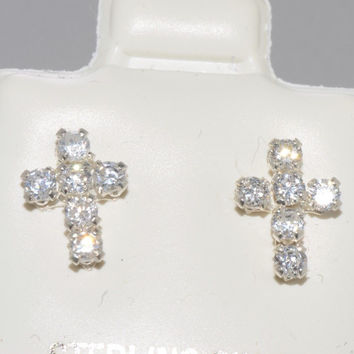 Cross Earrings Cubic Zirconia Sterling Silver Studs Micro Pave Cute 9mm