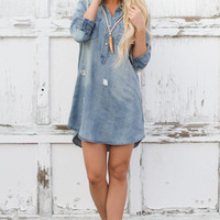 Light Blue Distressed Denim Shirt Dress