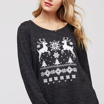 Reindeer and Christmas Trees Sweater - Charcoal