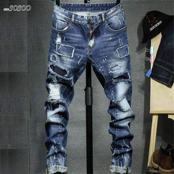 Men Jeans  Ripped Afligido Jeans Stretch Skinny Jeans