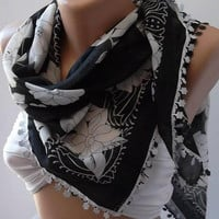 White - Black/ Elegant  - Shawl-Scarf - Very Soft cotton fabric