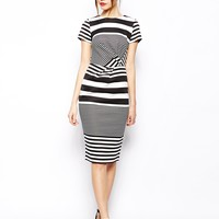 ASOS Pencil Dress In Stripe With Twist Front - Print