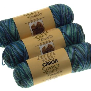 Caron Simply Soft Paints Yarn Skeins Spring Brook Lot of 3 Blue Green