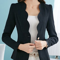 Wave Hem Bodycon Long Sleeve Blazers