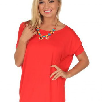 PIKO Something About You Tomato Red Tunic | Monday Dress Boutique