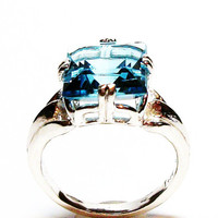 "Blue topaz, swiss blue topaz, topaz, princess topaz, engagement ring, blue, s 6 1/2  ""Mirror Image"""