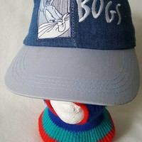 Vtg deadstock 90s Bugs Bunny Denim dad hat Looney Tunes Cartoon cap Space Jam Warner Bros.