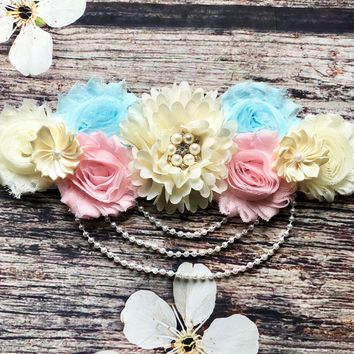 Beautiful Pink, Blue, and Cream Lace and Pearls Sash