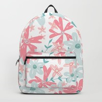 coral and mint flowers Backpack by sylviacookphotography