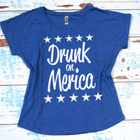 Drunk on Merica slouchy off the tee shirt S-2XL. USA tee shirt. American shirt. 4th of July tee shirt. Independence Day tee shirt.