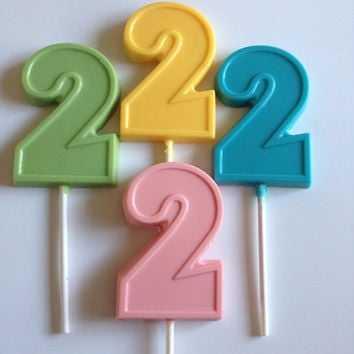 24 number 2 birthday chocolate lollipop party favors